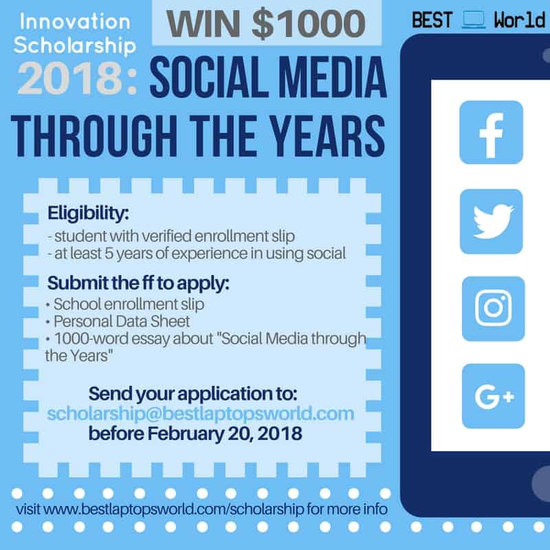 innovation scholarship social media through the years best  innovation scholarship 2018 social media through the years