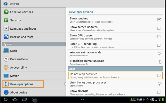 modify developer options on android