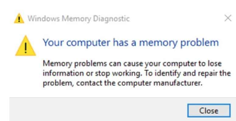 Memory Diagnostic Tool Results