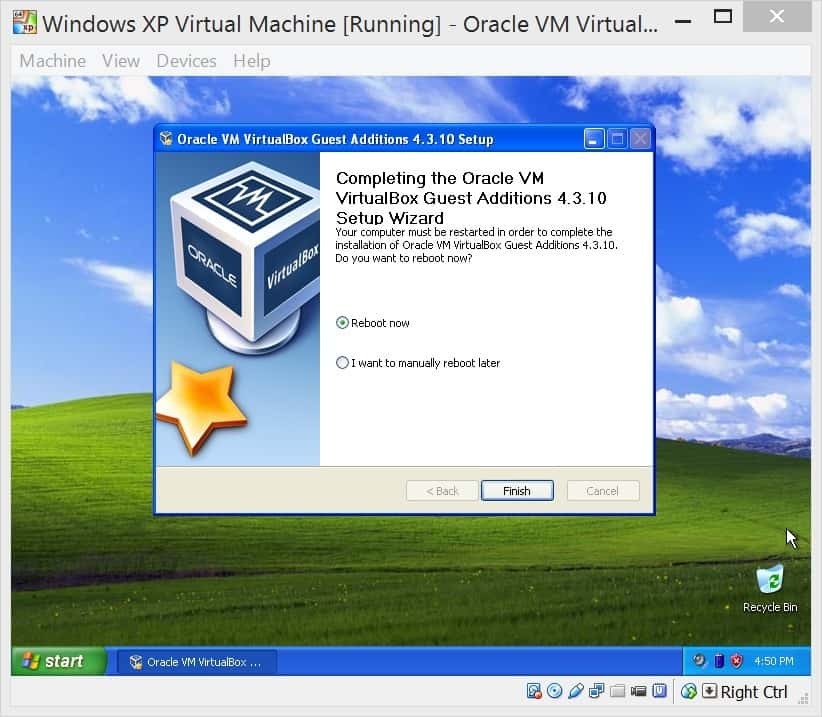 Windows on a virtual machine