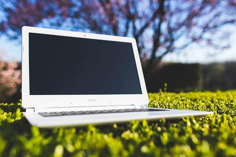 Chromebook on Grass