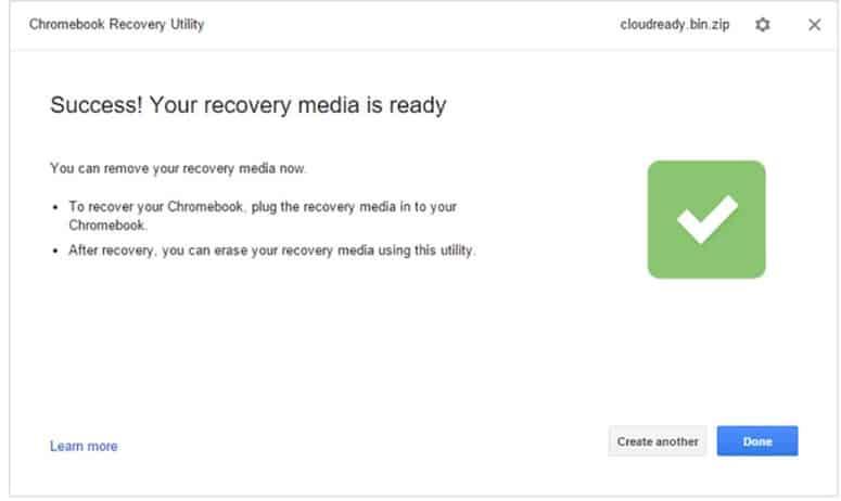 Recovery Success Confirmaiton