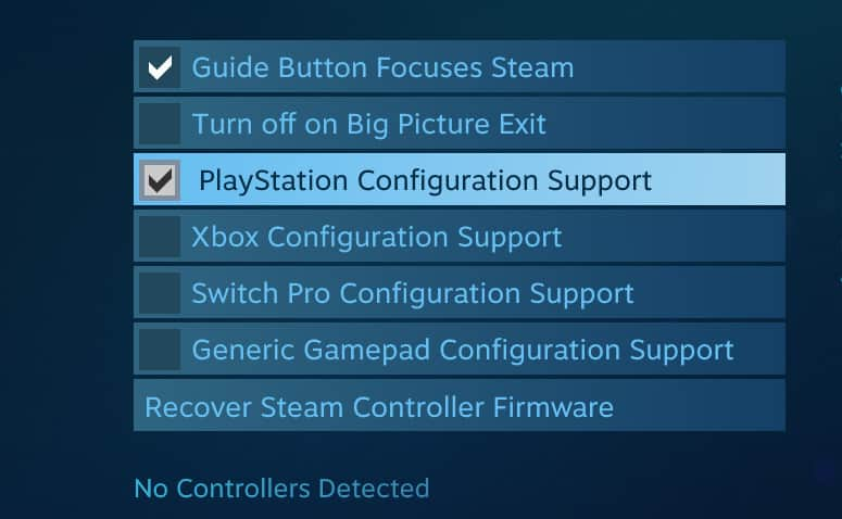 Steam DualShock 4 Support