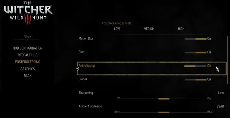 Witcher 3 Settings Laptop