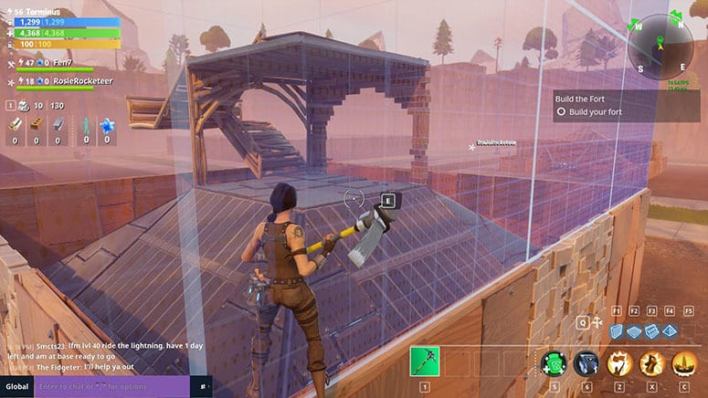 building a very basic fort - fortnite ride the lightning