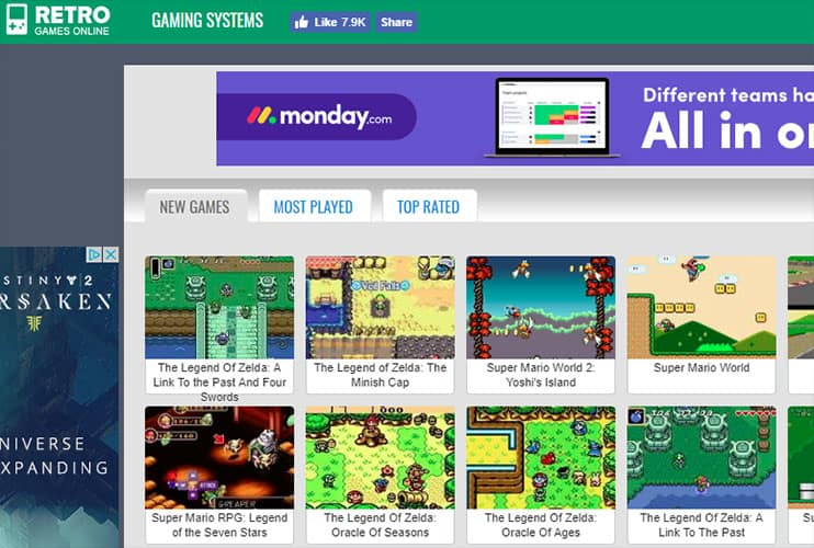 Retro Games Online Website