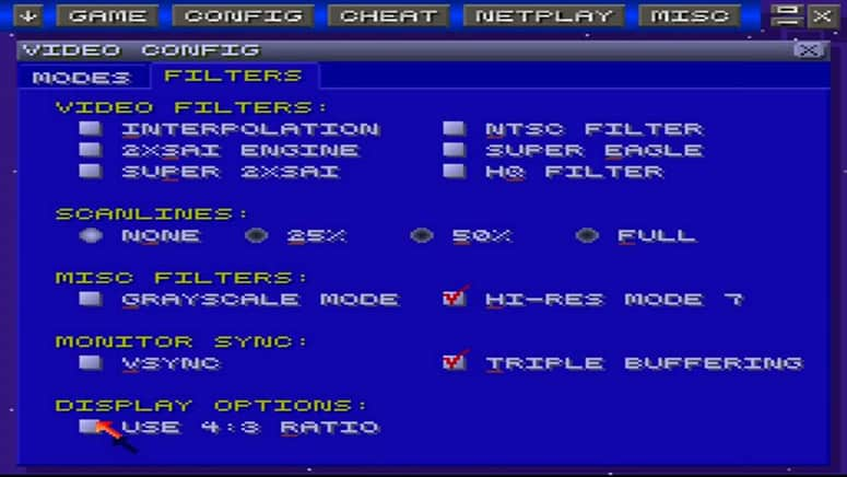 SNES Resolution Settings