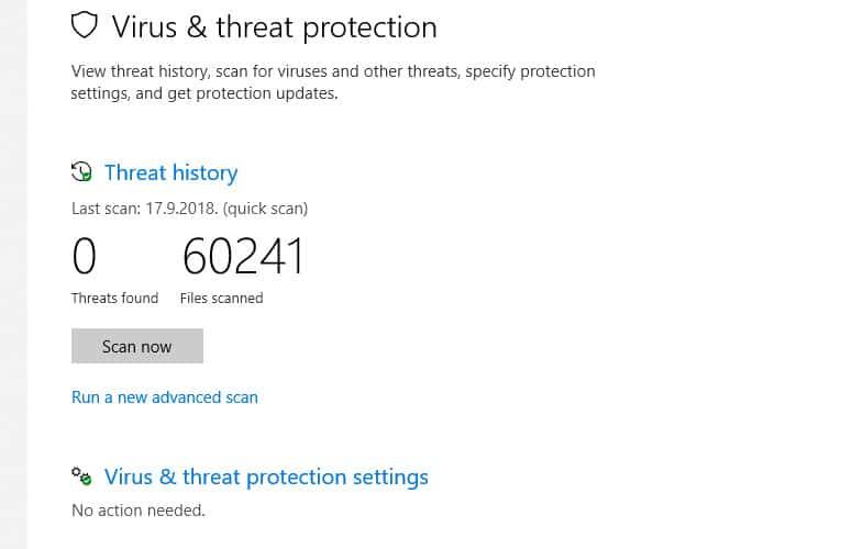PC Virus Scan Using Windows Defender